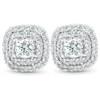"1/2 Ct TDW Genuine Diamond Cushion Halo Studs 10k White Gold 1/3"" (IJ, I1)"