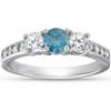 1 Carat Three Stone Blue & White Diamond Ring 14K White Gold (H/I, I2-I3)