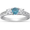1 Carat Three Stone Blue & White Diamond Ring 14K White Gold (H/I, I2-I3)