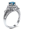 1 1/2ct Blue Diamond Vintage Engagement Ring 14K White Gold (H/I, I1)