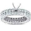 3ct Diamond Eternity Wedding Engagement Matching Ring Setting 14k White Gold (G/H, I1)