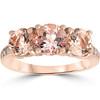 3 1/4 ct Morganite & Diamond 3-Stone Ring 14k Rose Gold (H/I, I1-I2)