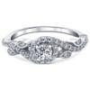 5/8ct Vintage Diamond Floral Halo Engagement Ring 14K White Gold (H/I, I1-I2)