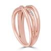 1/5ct Diamond Cross Over 14k Rose Gold Right Hand Multi Rose Ring (I/J, I2-I3)