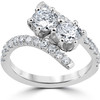1 cttw Diamond 2 Stone Forever Us Engagement Anniversary Ring 14k White Gold (I/J, I1-I2)