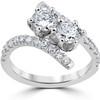 1 cttw Diamond 2 Stone Forever Us Engagement Anniversary Ring 14k White Gold (I/J, I1-I2)