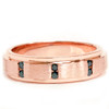 1/8ct Mens Rose Gold Brushed Treated Black Diamond Wedding Ring 14k (Black, AAA)