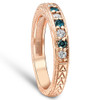 1/4CT Blue & White Diamond Wedding Anniversary Ring 14K Rose Gold (H/I, I1-I2)