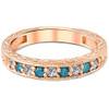 1/4CT Blue & White Diamond Wedding Anniversary Ring 14K Rose Gold (H/I, I1-I2)