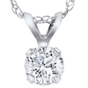 1/4ct Solitaire Round Diamond Pendant 14K White Gold (G, SI)