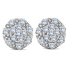 1/3ct Halo Diamond Cluster Studs 10k White Gold 8.5mm (H-I, I2)