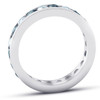 2ct Blue Sapphire & Diamond Channel Set Eternity Ring 14K White Gold (G/H, I1)