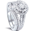 1 1/4ct Round Diamond Halo Engagement Ring Set 14K White Gold (G/H, SI1-SI2)
