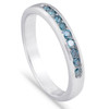 1/4 cttw Blue Diamond Wedding Ring 14K White Gold Channel Set Stackable Band (Blue, I1-I2)
