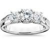 1 3/4CT 3 Stone Diamond Engagement Ring 14K White Gold (G/H, I1-I2)