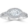1 1/2 ct Vintage Halo Sidways Marquise Diamond Engagement Ring 14k White Gold (G/H, I1-I2)