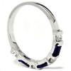 5/8ct Blue Sapphire & Diamond Wedding Stackable Ring 14K White Gold (G/H, I1)