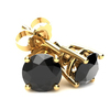 2 1/6ct Black Diamond Studs Womens Earrings 14K Yellow Gold (Black, AAA)