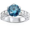 3 1/2ct Blue Diamond Engagement Ring 14K White Gold (White, I1)