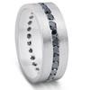 1 1/10ct Black Diamond 8mm Mens Eternity Ring 14K White Gold (Black, )