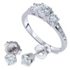 1 1/2ct 3 Stone Diamond Ring & Matching Studs 14K White Gold (I/J, I2)