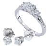 1 1/2ct 3 Stone Diamond Ring & Matching Studs 14K White Gold (I/J, I2)