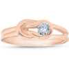 1/5ct Diamond Knot Solitaire Round Brilliant Cut Ring 14K Rose Gold (G, I1)