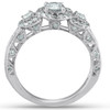 1 1/4ct 3-Stone Vintage Diamond Halo Engagement Ring 14K White Gold (I/J, I2-I3)
