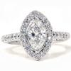 1 3/8ct Marquise Halo Diamond Ring 14K White Gold (G/H, I1)