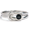 1/5ct Solitaire Everlon Knot Ring 14K White Gold (Black, AAA)