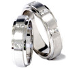 His Hers Brushed Diamond Wedding Ring White Gold Set (G/H, SI1)