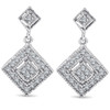 1/2ct Princess Cut Shape Dangle Diamond Earrings 10K White Gold (H/I, I2-I3)