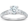 1 3/4 Ct Diamond Three Stone Engagement Pave Ring 14k White Gold (H/I, I1-I2)
