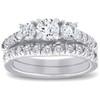 1 1/2 ct 3-Stone Diamond Engagement Ring Matching Wedding Band Set White Gold (H-I, I1-I2)