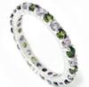 1 1/2ct Peridot & Diamond Common Prong Eternity Wedding Ring 14K White Gold (G/H, I1)