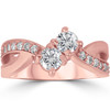 1 cttw Forever Us 2-Stone Diamond Engagement Cross Over Ring 10k Rose Gold (G/H, I1-I2)