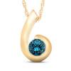 1/4ct Yellow Gold Blue Diamond Bezel Solitaire Pendant (Blue, SI)