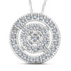 White Gold 3/8ct Filigree Pave Circle Antique Pendant (I, I1-I2)