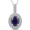 Oval Blue Sapphire Diamond Solitaire Pendant 14K White Gold (G/H, I2)