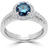 1 1/2 ct Blue Diamond Halo Engagement Wedding Ring Set 14k White Gold (I/J, I1-I2)