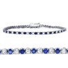 3ct Blue Sapphire & Diamond Genuine Tennis Bracelet 14K White Gold (G/H, I1)