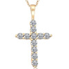 1/2ct Yellow Gold Diamond Cross Pendant 14K Necklace (G/H, I1)