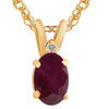 """Oval Ruby & Diamond Solitaire Pendant 14 KT Yellow Gold With 18"""" Chain (J-K, I2)"""