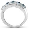 1ct Blue Sapphire & Diamond Vintage Anniversary Ring 14K White Gold (G/H, I1-I2)