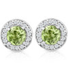 5/8ct Halo Diamond Peridot Studs 14K White Gold (G/H, I1)
