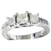 1 3/4ct Vintage Three Stone Diamond Ring 14K White Gold (H, I1)