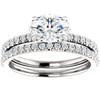 1 3/8cttw Oval Diamond Engagement Wedding Ring Set 14K White Gold (G/H, SI1-SI2)