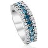 1 1/2ct Blue & White Diamond Wedding Anniversary Ring (G/H, I2)