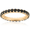 1 1/2ct Black Diamond Eternity Ring 14k Yellow Gold Womens Stackable Band (Black, )