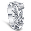 1 1/10ct Sculptural Diamond Engagement Ring Set 14K White Gold (G/H, I1-I2)